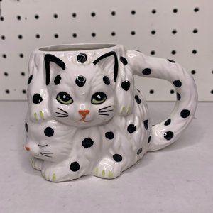 Cute Handmade Polka Dot Kitty Mug
